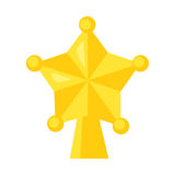 Vektor av den gula stjärnan som isoleras på vit Tecknad filmstil Gullig rolig julsymbol stock illustrationer