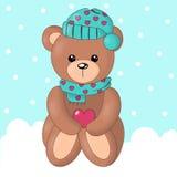 Vektor av den gulliga björnen i snöbakgrund Royaltyfri Foto