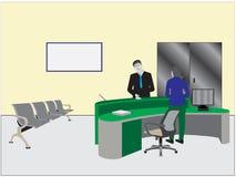 Vektor av den mottagandeskrivbordet och datoren i det v?ntande rummet stock illustrationer