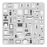 Vektor av den plana symboler, badrum- och toalettuppsättningen Royaltyfria Bilder