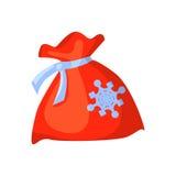Vektor av den röda roliga santa påsen som isoleras på vit Tecknad filmstil Gullig julsymbol illustration stock illustrationer