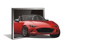 Vektor av den röda sportbilen ut från tv Arkivfoto
