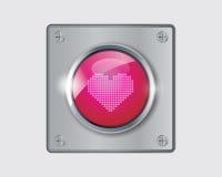 Vektor av den rosa hjärtaknappen. Royaltyfria Bilder