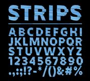 Vektor av den strimmiga djärva stilsorten och alfabetet Skifta effekttypletten vektor illustrationer