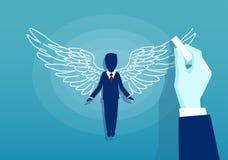 Vektor av en affärsman med vingar stock illustrationer
