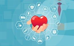 Vektor av en doktor som rymmer röd hjärta som erbjuder medicinsk hjälp och hjälp royaltyfri illustrationer