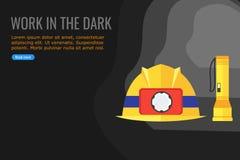 Vektor av en ficklampa och en säkerhetshjälm stock illustrationer