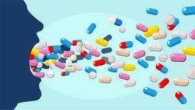 Vektor av en man som konsumerar för många preventivpillerar royaltyfri illustrationer