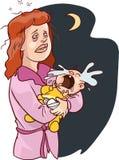 Vektor av en sömnlös vit moder för tecknad film som bär en skriande Bab Royaltyfria Foton
