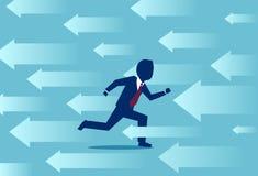 Vektor av en spring för affärsman i motsatt riktning av åtskilliga pilar vektor illustrationer