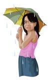 Vektor av flickan med paraplyet arkivbild