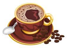 Vektor av kaffekoppen med bönor Fotografering för Bildbyråer