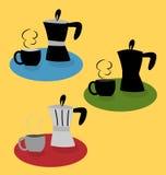 Vektor av kaffekrukan med kaffekoppen i olik stil royaltyfri foto