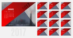 Vektor av kalendern 2017 år, 12 månad kalender med modernt rött vektor illustrationer