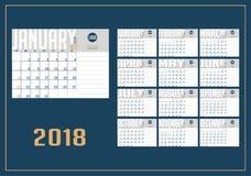 Vektor av kalendern för nytt år 2018 royaltyfri illustrationer