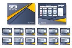Vektor av kalendern för nytt år 2019 i enkel stil för ren minsta tabell och färg för blå och orange guling royaltyfri illustrationer