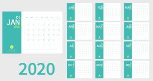 Vektor av kalendern för nytt år 2020 i stil och ljus för ren minsta tabell enkel - grön färg, feriehändelsestadsplaneraren, vecka royaltyfri illustrationer
