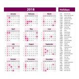 Vektor av kalendern och ferier för nytt år 2018 stillilor färgar, feriehändelsestadsplaneraren, veckastarter söndag royaltyfri illustrationer