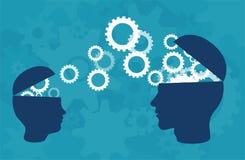 Vektor av konturn för två huvud av den vuxna personen och ett barn som delar kunskap, idéer stock illustrationer