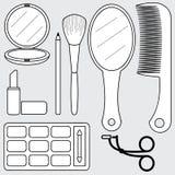 Vektor av kosmetisk tillbehör, symbol Royaltyfri Bild