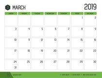 Vektor av modern grön kalender2019 mars i enkel rengöring t stock illustrationer
