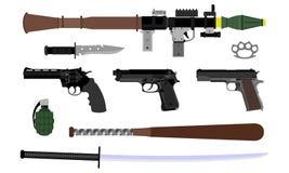 Vektor av olika vapen royaltyfri fotografi