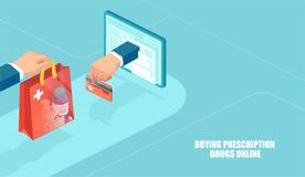 Vektor av online-apotek, e-kommers begrepp royaltyfri illustrationer