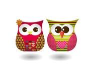 Vektor av Owl Couple Arkivfoton