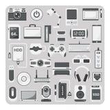 Vektor av plana symboler, bärbar datoruppsättning stock illustrationer
