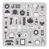 Vektor av plana symboler, brandbekämpninguppsättning Arkivbilder