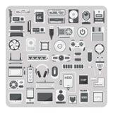 Vektor av plana symboler, datoruppsättning Arkivfoton