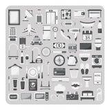 Vektor av plana symboler, hotelluppsättning Arkivbild