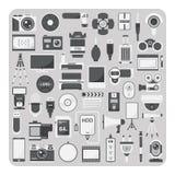Vektor av plana symboler, kamerauppsättning Fotografering för Bildbyråer