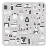Vektor av plana symboler, rengörande uppsättning Fotografering för Bildbyråer