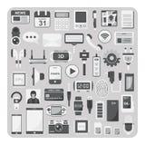 Vektor av plana symboler, Smartphone uppsättning Royaltyfria Bilder