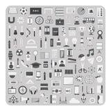 Vektor av plana symboler, utbildning och tillbaka till uppsättningen för skolatillförsel Royaltyfria Foton