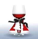 Vektor av rött vinexponeringsglas Tre nätt sexiga flickor som slitage Santa Claus, katt- och kaninkläder Arkivbilder