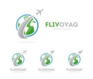 Vektor av raket- och jordlogokombinationen Flygplan och världssymbol eller symbol Unik global och ekologilogotyp Royaltyfri Foto