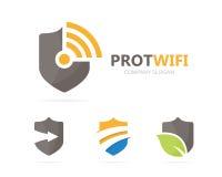 Vektor av sköld- och wifilogokombinationen Säkerhet och signalsymbol eller symbol Unikt skydda och radiosända, internet Royaltyfri Bild