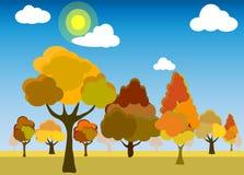 Vektor av skogen eller att parkera i moderiktig plan stil i hösten stock illustrationer