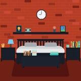 Vektor av sovrummet med tegelstenväggen Royaltyfri Bild