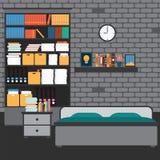 Vektor av sovrummet med väggtegelsten Arkivfoto