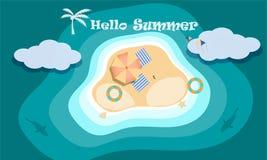 Vektor av strandaktivitetsbegreppet på den bästa sikten, Hello och den välkomna sommarsäsongen royaltyfri illustrationer