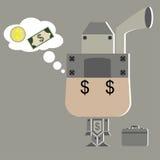 Vektor av tänkande pengar för toppen lönman stock illustrationer