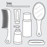 Vektor av toalettartikeluppsättningen, produkt för personlig omsorg Fotografering för Bildbyråer