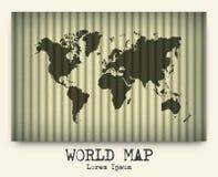 Vektor av världskartan på papp vektor illustrationer