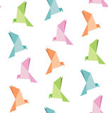 Vektor av vikningpapper av fågeln, origami, sömlös bakgrund Arkivfoto