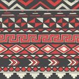 Vektor-aztekisches Stammes- nahtloses Muster auf zerknittert Lizenzfreies Stockbild