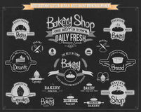 Vektor-Bäckerei-Aufkleber, Ausweise und Gestaltungselemente lizenzfreie abbildung
