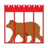Vektor-Bär im Zookäfig Flache Art bunte Karikaturillustration stock abbildung